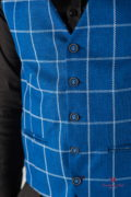 Мужская жилетка в клетку синего цвета. Арт.:3-811-2