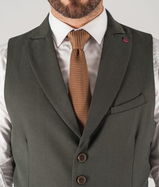 Зеленая мужская жилетка с лацканами. Арт.:3-817-3