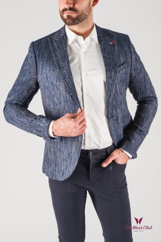 Фактурный мужской пиджак темно-синего цвета. Арт.:2-818-5