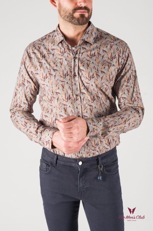Принтованная мужская рубашка серого цвета. Арт.:5-820-8