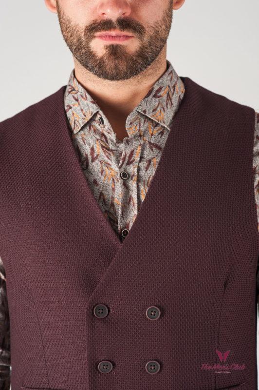 Бордовая мужская жилетка в стиле casual. Арт.:3-820-3