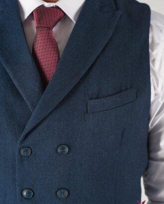 Мужской синий жилет с лацканами. Арт.:3-826-3
