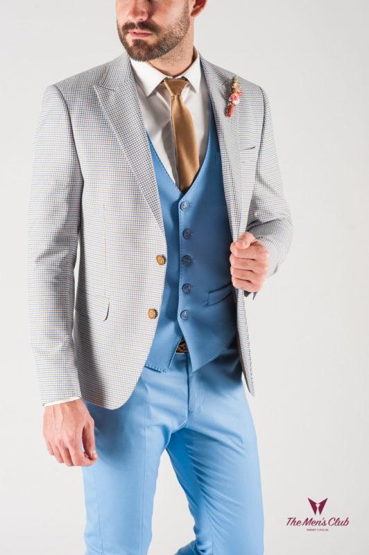 Светлый мужской пиджак в мелкую клетку. Арт.:2-830-8