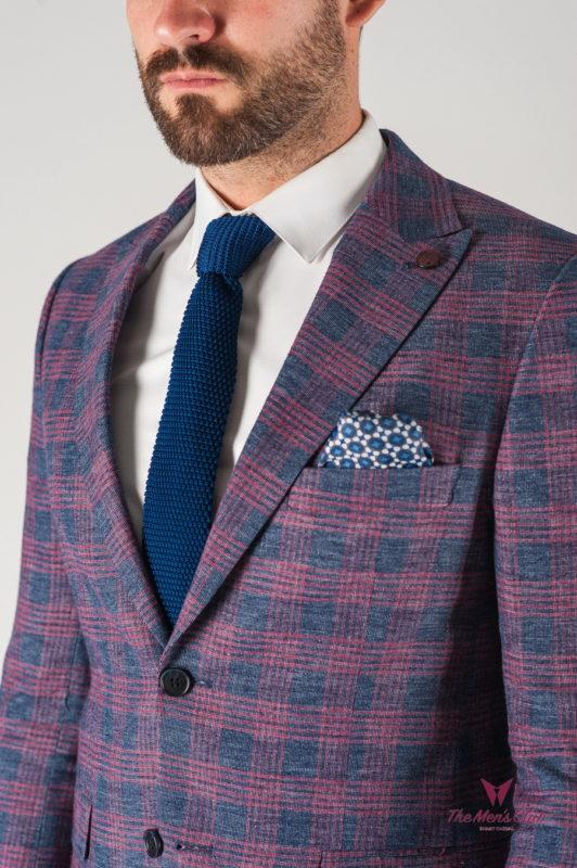 Клетчатый мужской пиджак синего цвета. Арт.:2-833-8