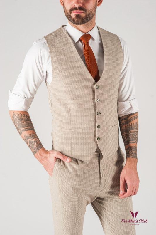 Мужской костюм жилет плюс брюки бежевого цвета. Арт.:4-834-8