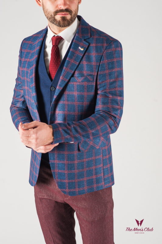 Мужской синий пиджак в бордовую клетку. Арт.:2-835-22