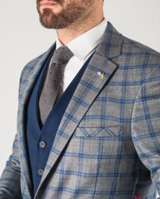 Мужской серый пиджак в синюю клетку. Арт.:2-837-22