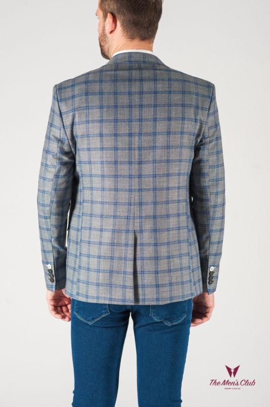 Cерый пиджак в контрастную клетку. Арт.:2-837-22