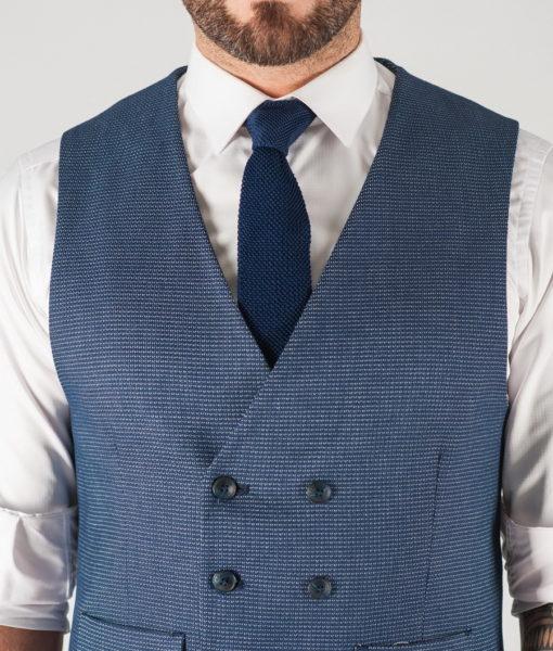Мужская двубортная жилетка синего цвета. Арт.:3-838-3