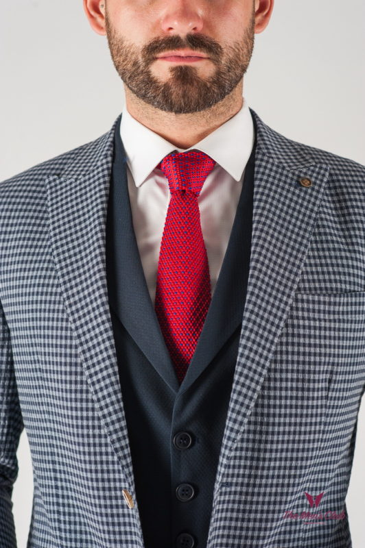 Мужской серый пиджак в мелкую клетку. Арт.:2-839-8