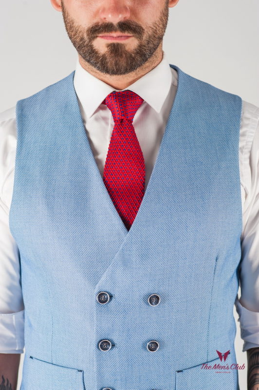 Двубортная мужская жилетка голубого цвета. Арт.:3-840-3