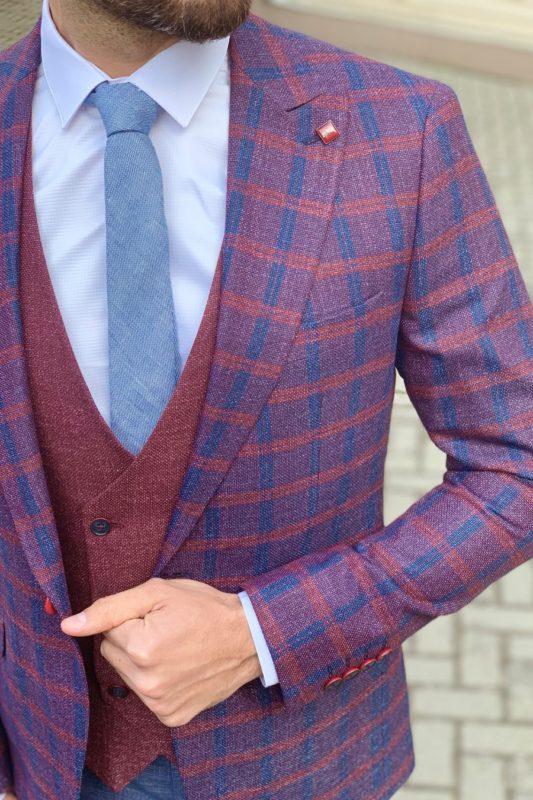 Молодежный мужской костюм-тройка. Арт.: 4-902-3