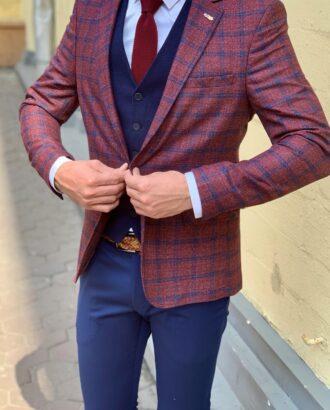 Мужской бордовый пиджак в клетку. Арт.: 2-924-3