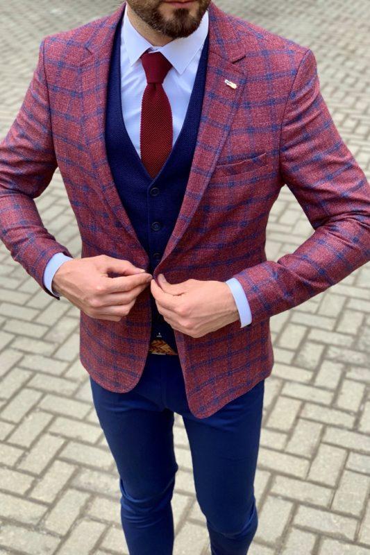 Мужской бордовый пиджак в клетку. Арт.:2-924-22