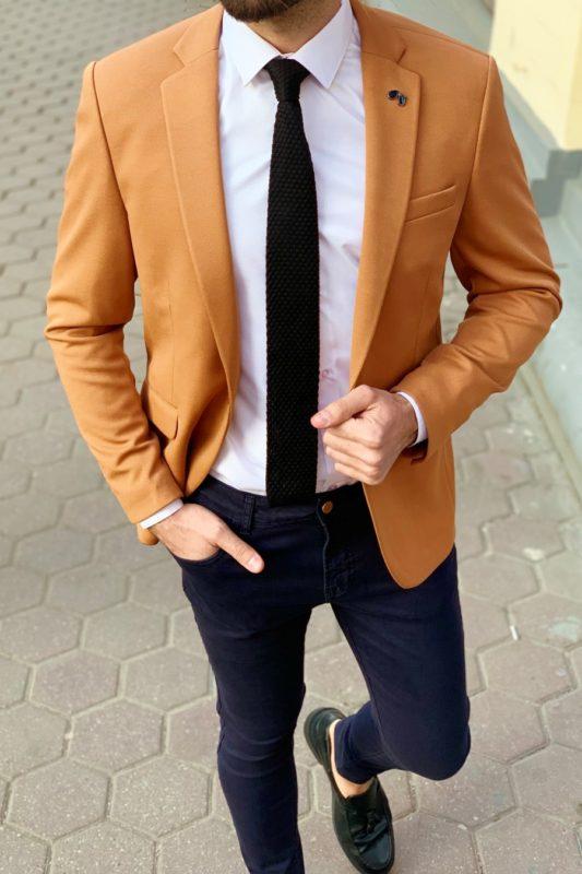 Горчичный мужской пиджак. Арт.:2-907-1