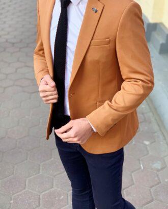 Горчичный мужской пиджак. Арт.: 2-907-1