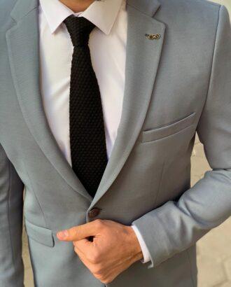 Мужской приталенный пиджак серого цвета. Арт.: 2-908-1