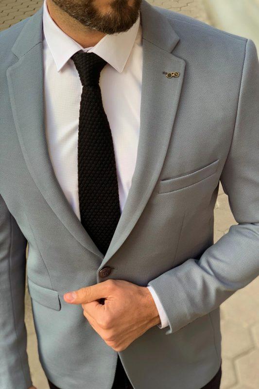 Мужской приталенный пиджак серого цвета. Арт.:2-908-1