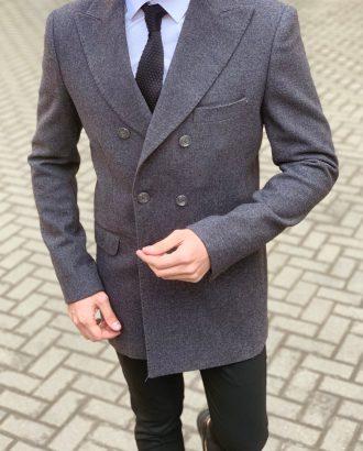 Укороченное мужское пальто серого цвета. Арт.: 1-915-3