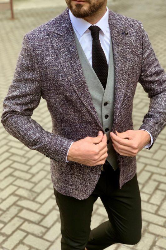 Фактурный мужской пиджак серого цвета. Арт.:2-916-5