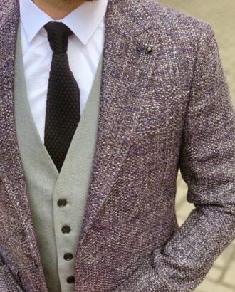 Фактурный мужской пиджак серого цвета. Арт.: 2-916-5