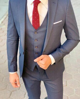 Синий мужской костюм-тройка. Арт.: 4-937-1