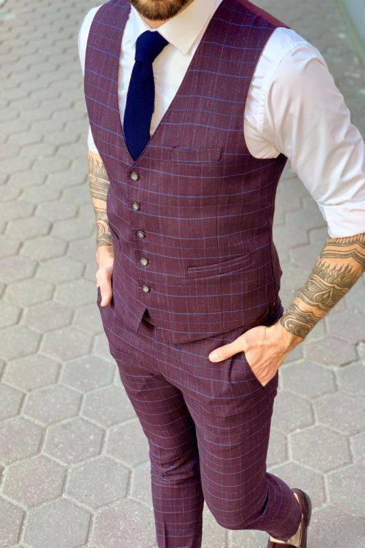Бордовый мужской костюм-тройка в синюю клетку. Арт.: 4-938-3