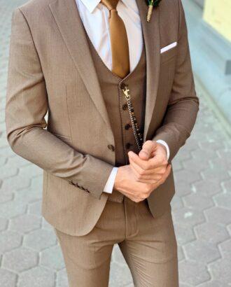 Мужской костюм-тройка бежевого цвета. Арт.: 4-940-3