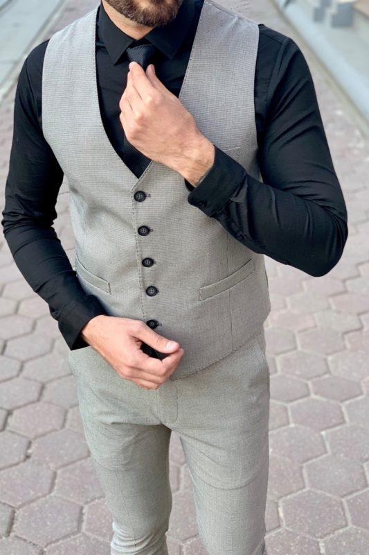 Мужской костюм-тройка серого цвета Арт.: 4-942-3