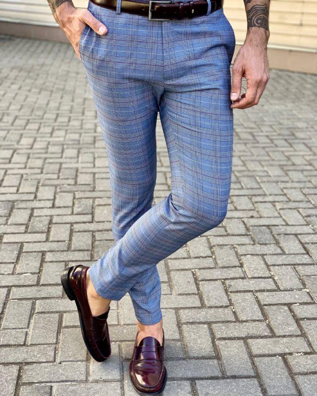 Мужские клетчатые брюки синего цвета. Арт.:6-933-3