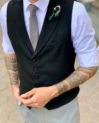 Классический мужской черный жилет. Арт.:3-945-3