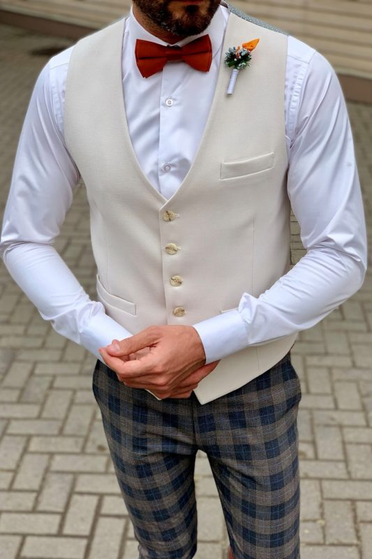 Классический мужской жилет бежевого цвета. Арт.:3-956-3