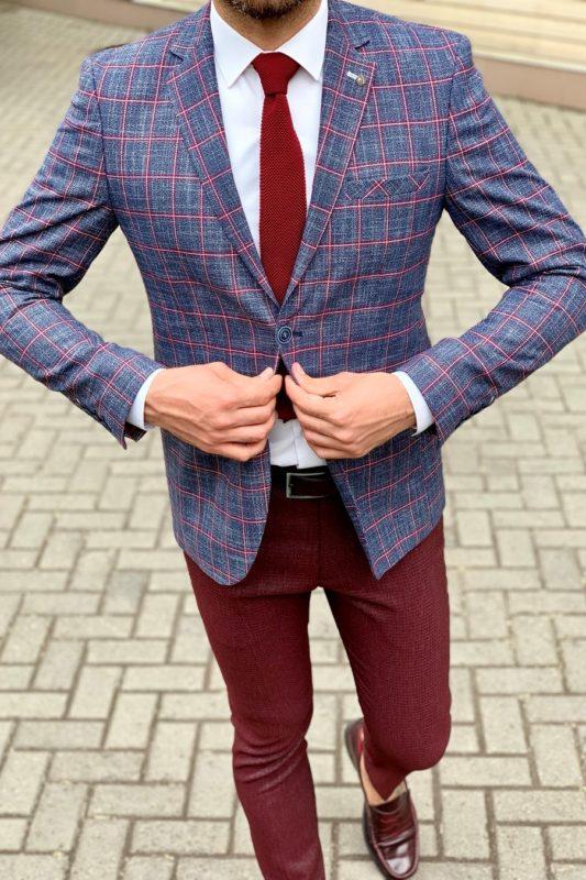 Стильный мужской пиджак в контрастную клетку. Арт.:2-958-22
