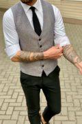 Классический мужской жилет серого цвета. Арт.:3-959-3