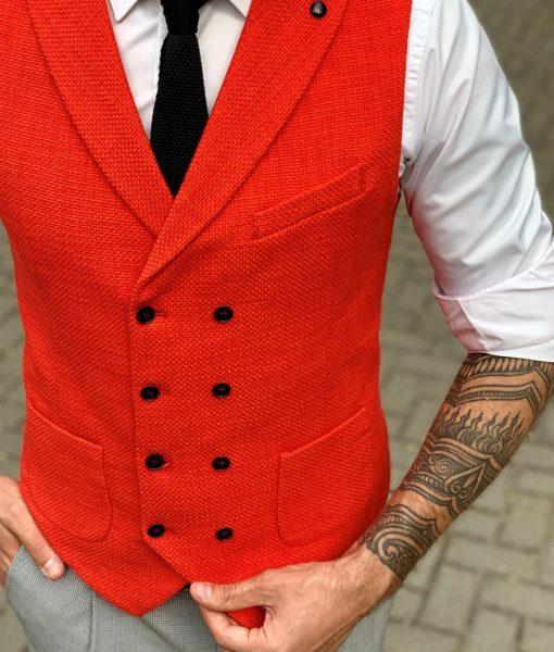 Стильная жилетка красного цвета. Арт.:3-961-3