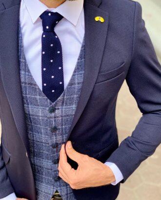 Мужской темно-синий пиджак слим фит. Арт.: 2-946-1