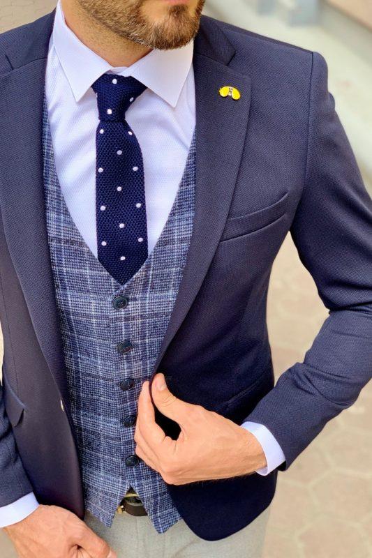 Мужской темно-синий пиджак слим фит. Арт.:2-946-1