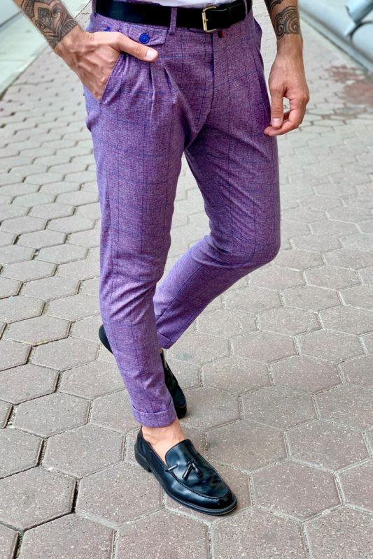 Мужские брюки сиреневого цвета. Арт.:6-948-3
