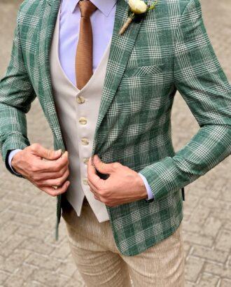 Мужской клетчатый пиджак зеленого цвета. Арт.:2-949-22