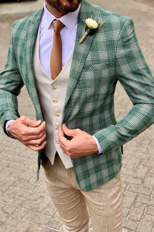 Мужской клетчатый пиджак в зеленом цвете. Арт.:2-949-22