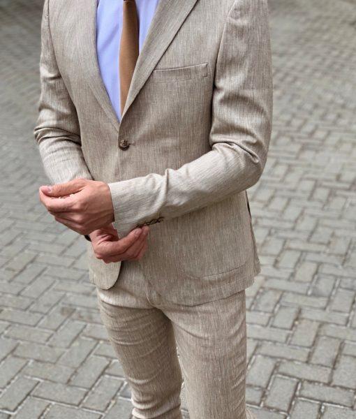 Светлый льняной мужской костюм-двойка. Арт.:4-951-3