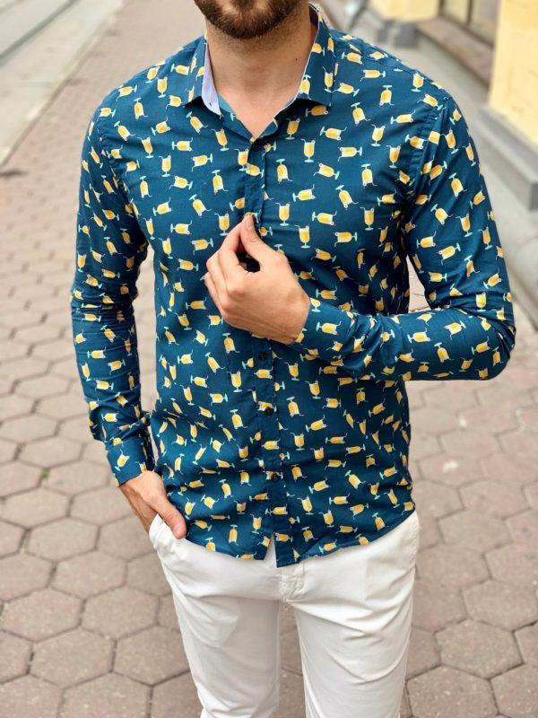 Темно-синяя мужская рубашка с принтом. Арт.:5-1007-8