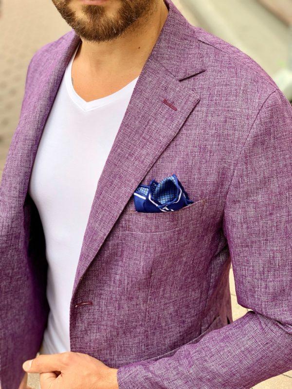 Мужской пиджак сиреневого цвета. Арт.:2-1008-28