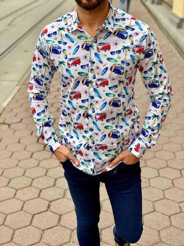 Мужская рубашка с разноцветным рисунком. Арт.:5-1010-8