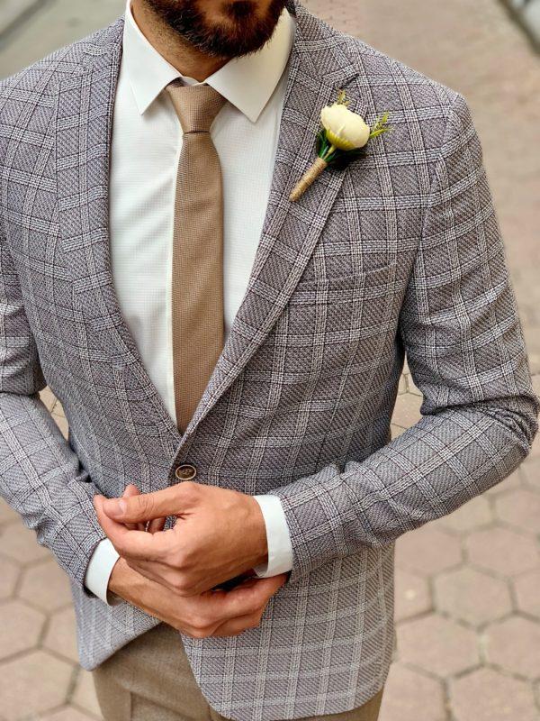 Мужской клетчатый пиджак серого цвета. Арт.:2-1011-3