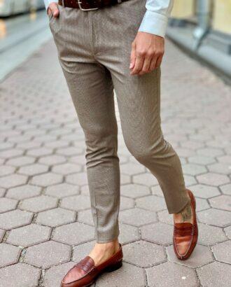 Укороченные брюки коричневого цвета. Арт.:6-1011-3