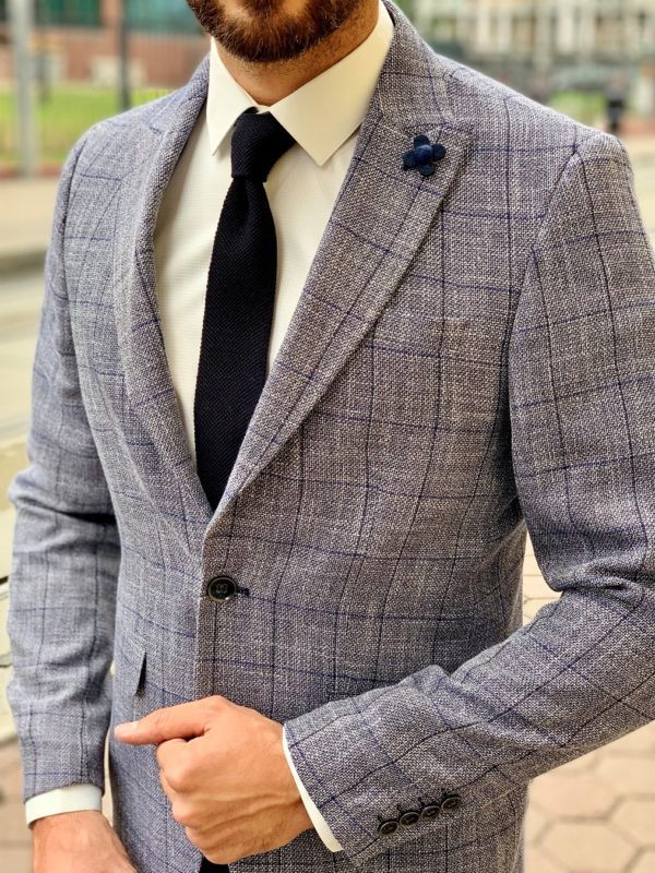 Мужской серый пиджак в синюю клетку. Арт.:2-1013-22