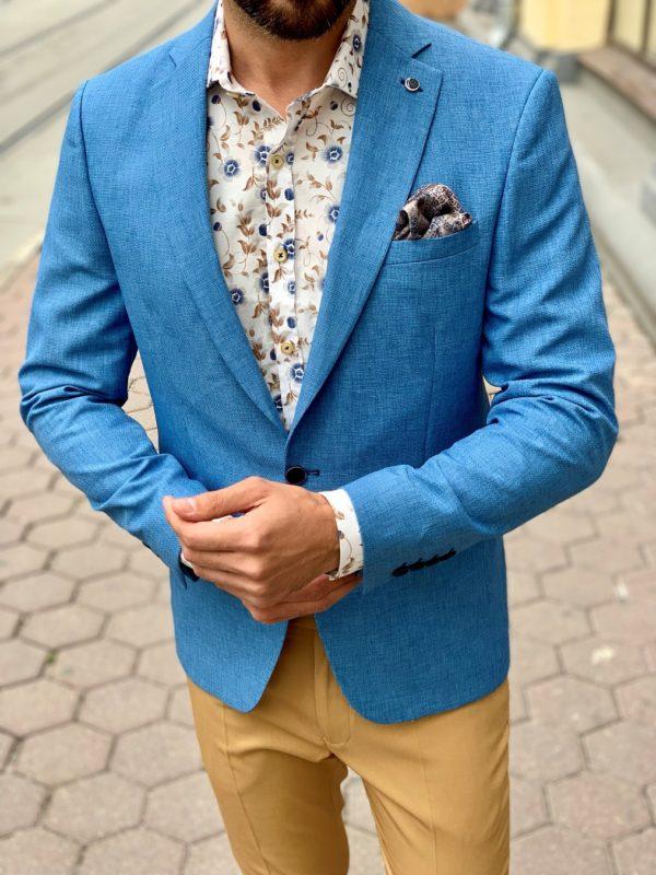 Стильный пиджак голубого цвета. Арт.:2-1014-2