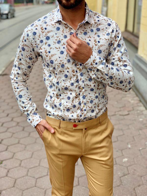 Мужская белая рубашка с принтом. Арт.:5-1014-8