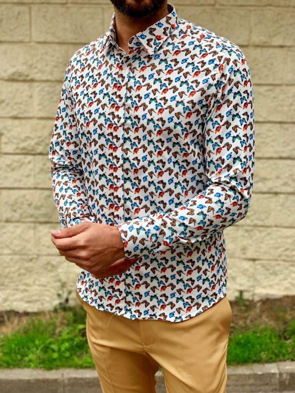 Мужская рубашка с бабочками. Арт.:5-1016-26